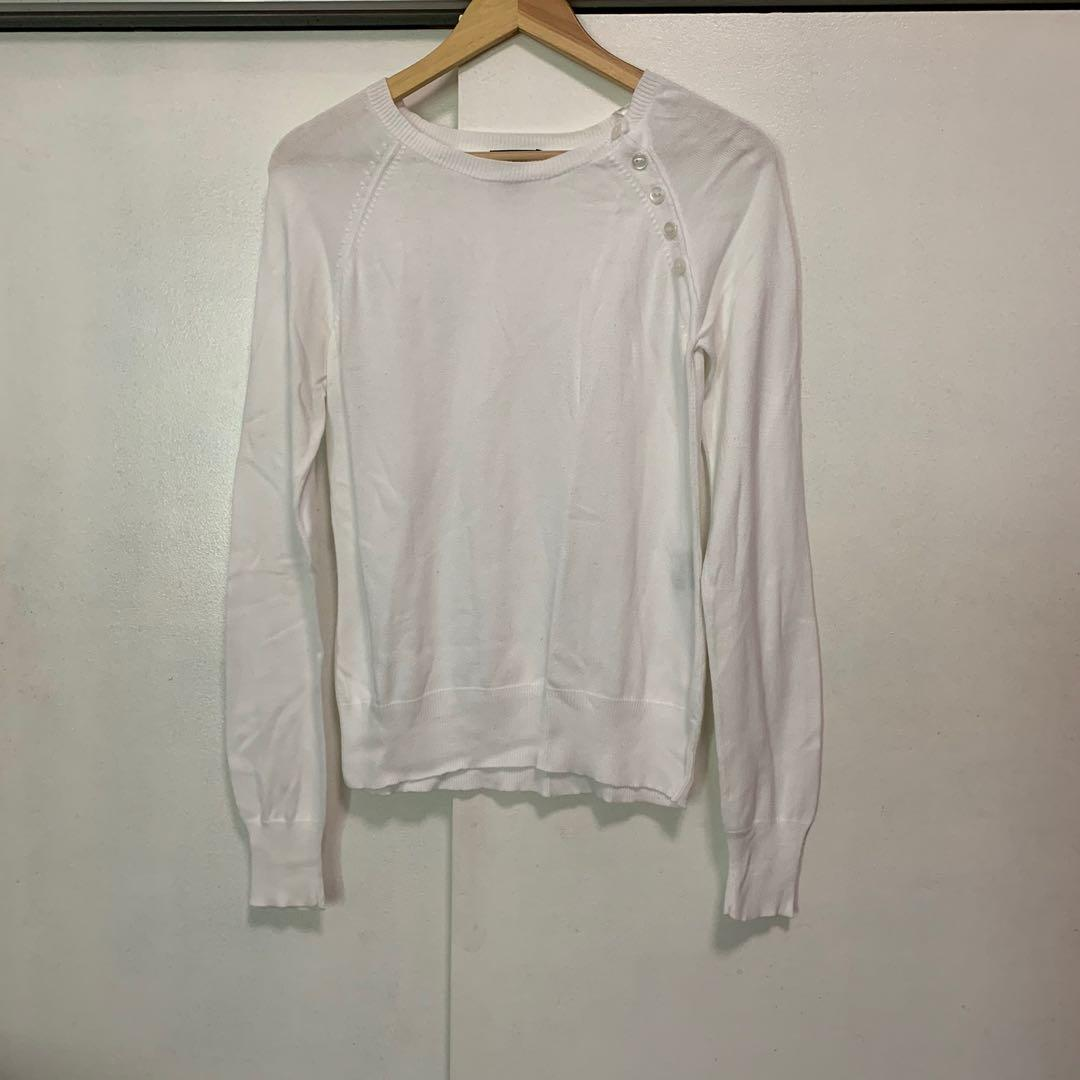 2ff13f44e H&M white sweater top on Carousell