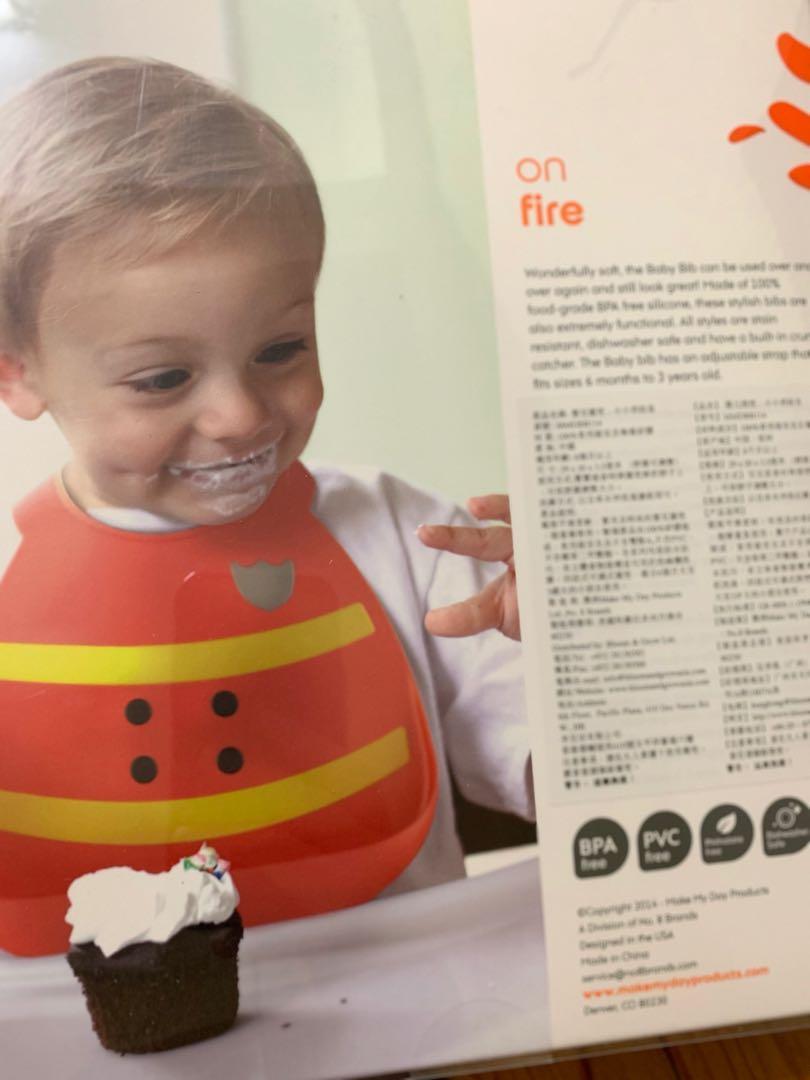 全新make my day baby bib fireman 嬰兒圍兜 小小消防員