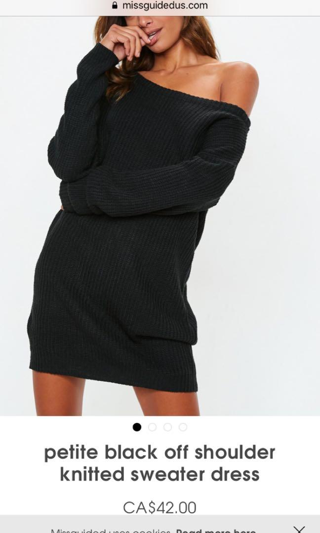 Missguided black sweater dress off the shoulder size small/medium