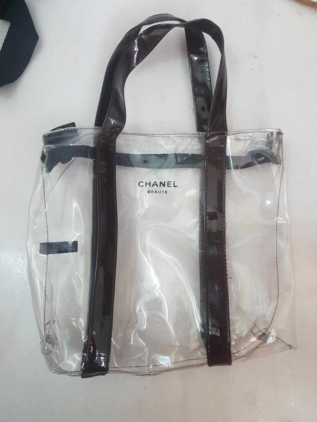 New Chanel Beaute Transparent Make up Bag pouch tote mini
