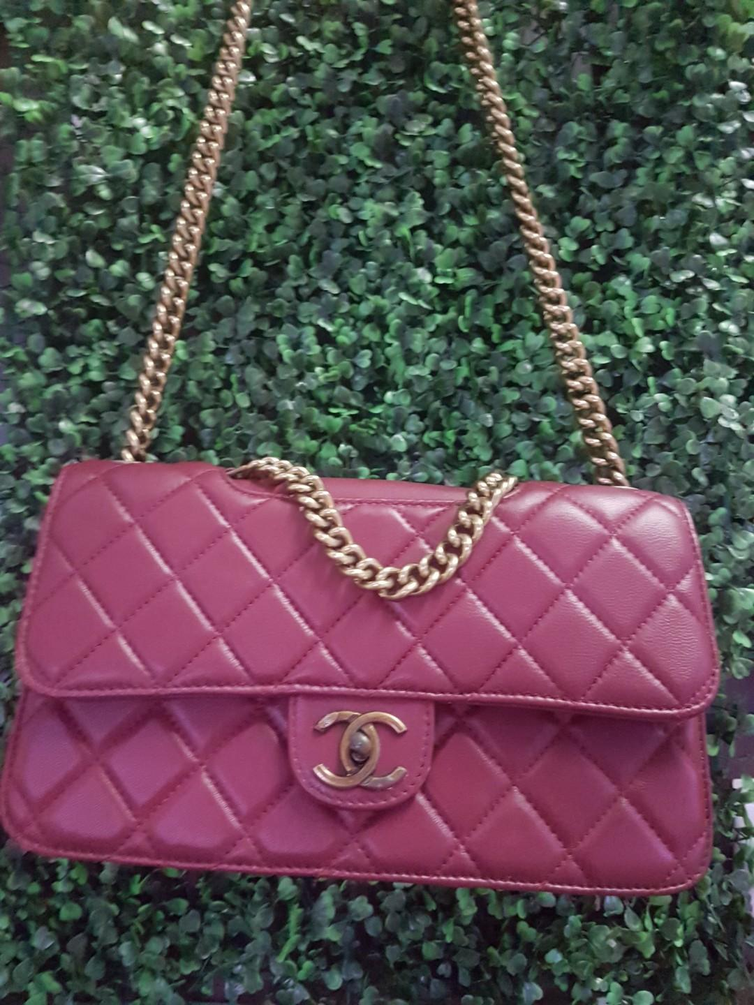 New Chanel Le Boy Maroon Leather 2.55 bag 2 way flap shoulder