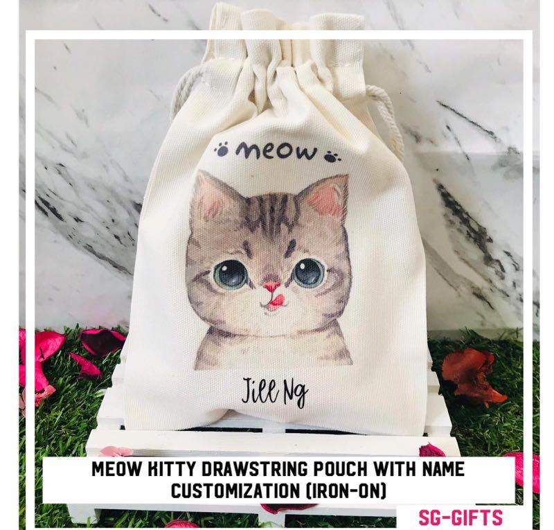 Personalised Name on Cat Totoro Drawstring Pouch Bag for Teacher's Day Gift Office Farewell Gifts