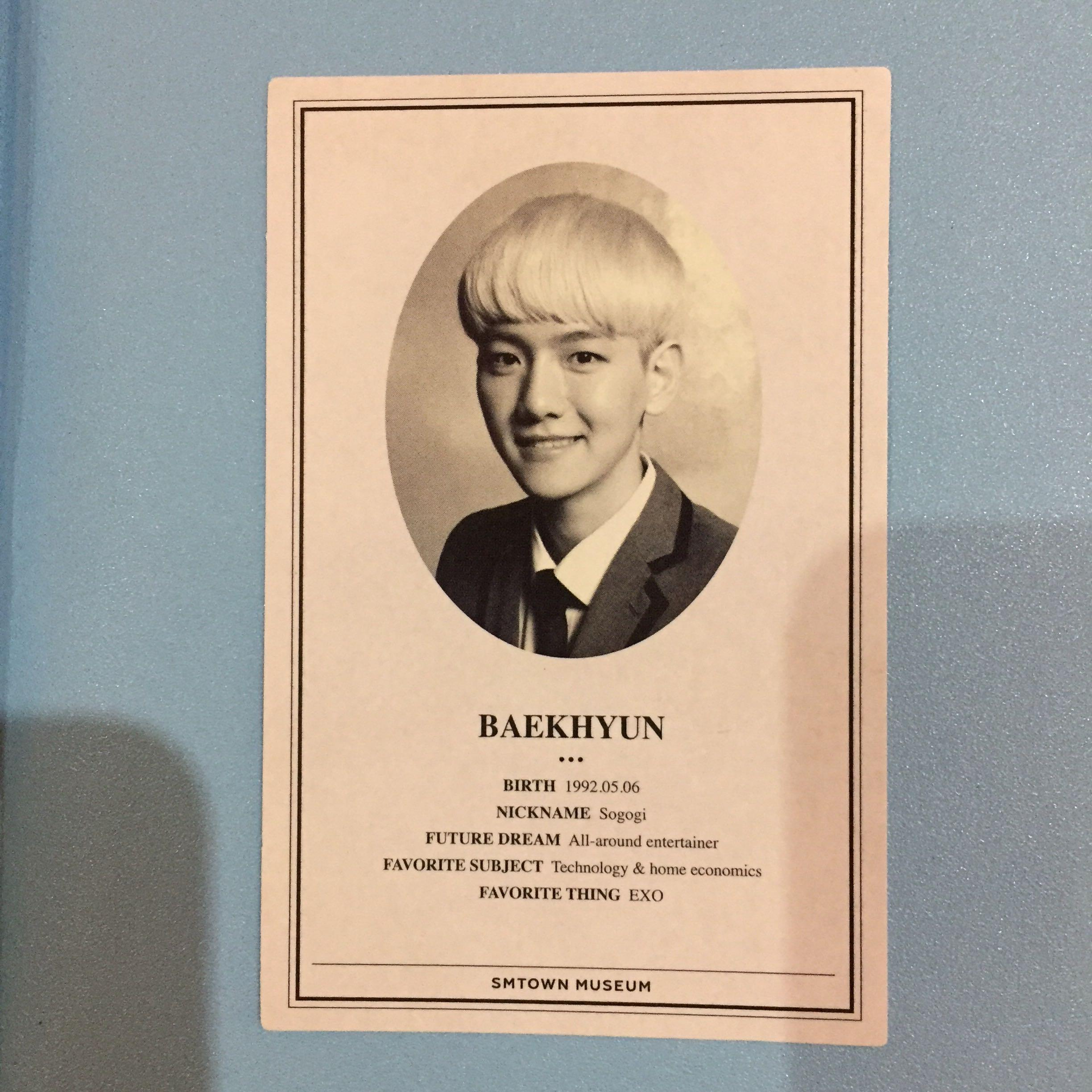 Photocard exo baekhyun wolf, MAMA B (official smtown museum)