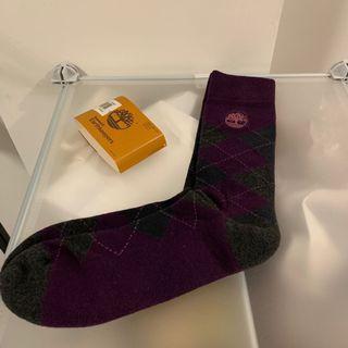 Timberland 紫灰格中長襪