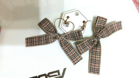 愛心耳夾 飾品 日本帶回 韓貨 日系耳環 螺旋夾 格紋