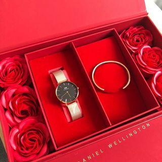 DW手錶 玫瑰金鋼帶黑色錶盤 手鐲套裝
