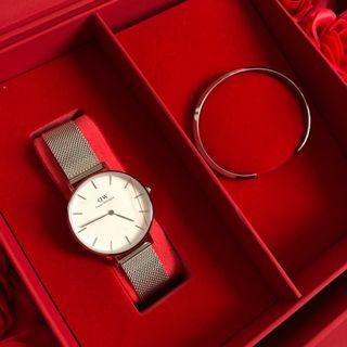 DW手錶  銀色白錶盤鋼帶手錶手鐲套裝
