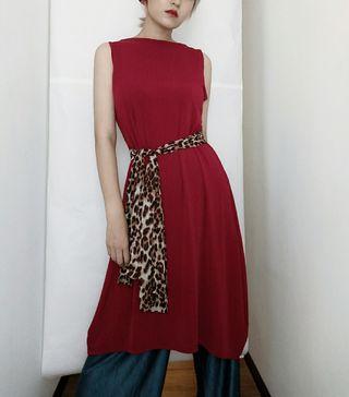古著 質感 酒紅色伉條紋V領長版背心洋裝
