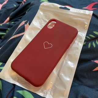 iPhone XS 酒紅 愛心 素面 全包手機殼