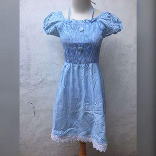 Mini Dress Biru Kotak Kotak