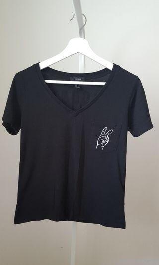 Forever 21 Soft Black V-Neck T-Shirt