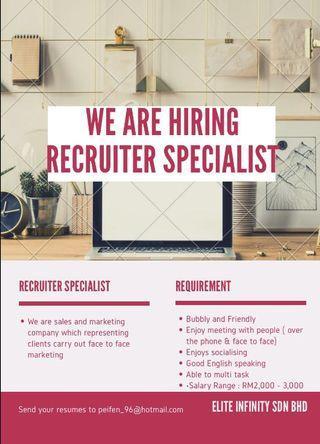 Immediate Hiring for recruiter specialist