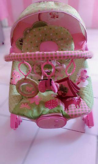 Baby bouncher litlle owl pink