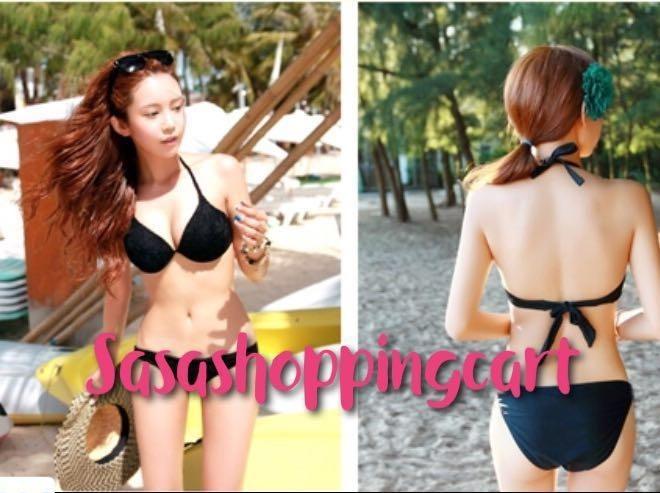 (12B/C) Black bikini swimsuit female steel support small chest gathered sexy black beach swimsuit
