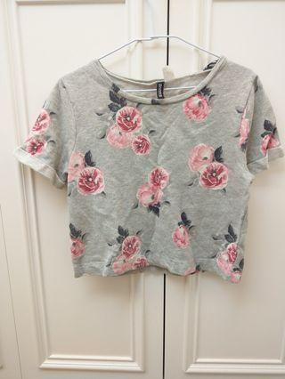 H&M 花卉時尚短上衣