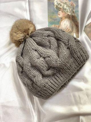 夏季出清 針織灰色毛帽