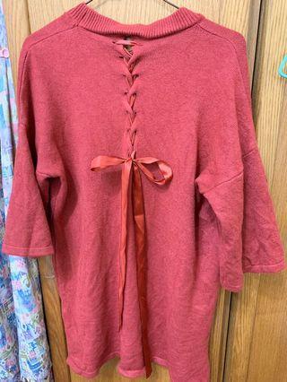 玫紅八分袖後綁帶毛衣