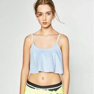 Zara藍白條紋短版背心