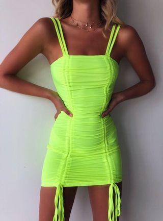 size 4-6 fluro green dress