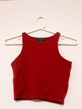 Red High Neck Sleeveless Crop Top