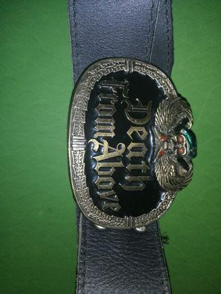 Rare collectible brass buckle leather belt