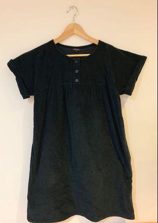 🇫🇷法國A.P.C絕版絨布法式短袖洋裝🔷(含運)