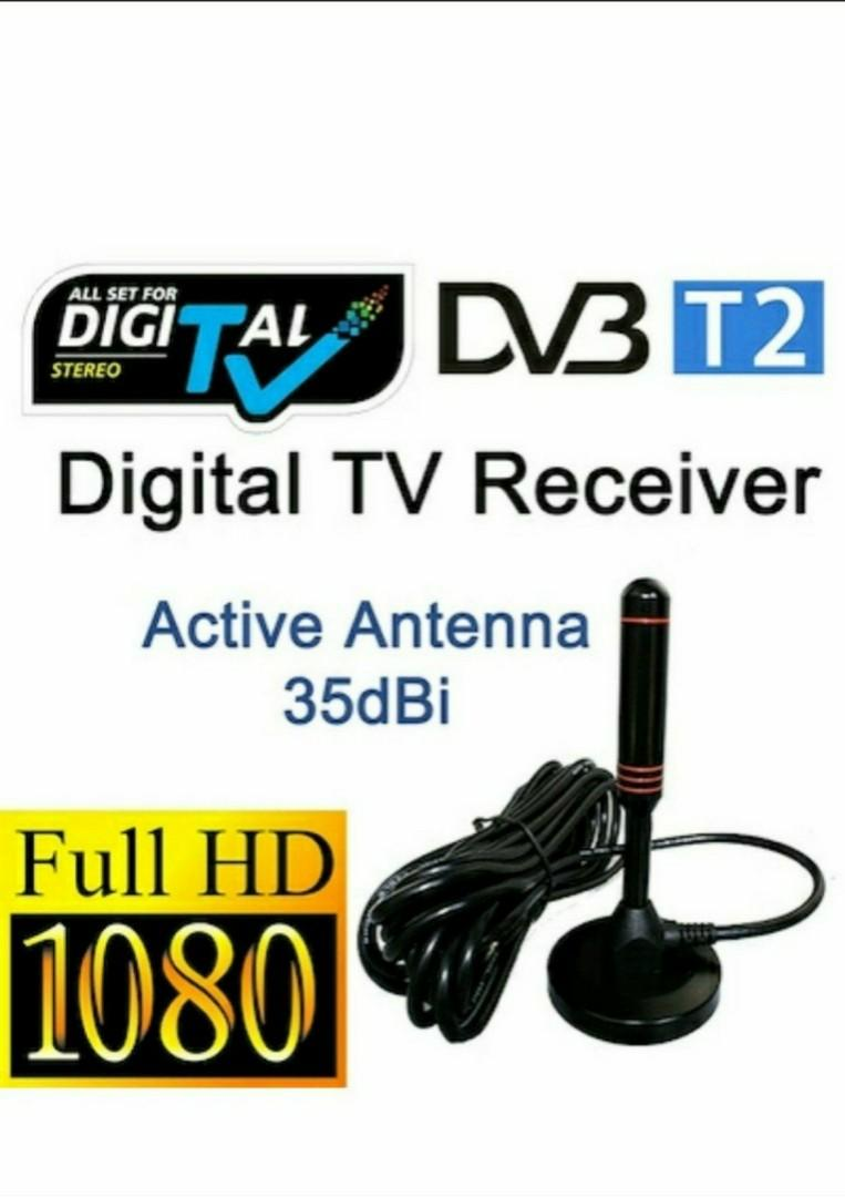 2019 Singapore Digital TV Antenna ★ DVB-T2 High Gain 35dBi Active USB Antenna work with Digital TV box