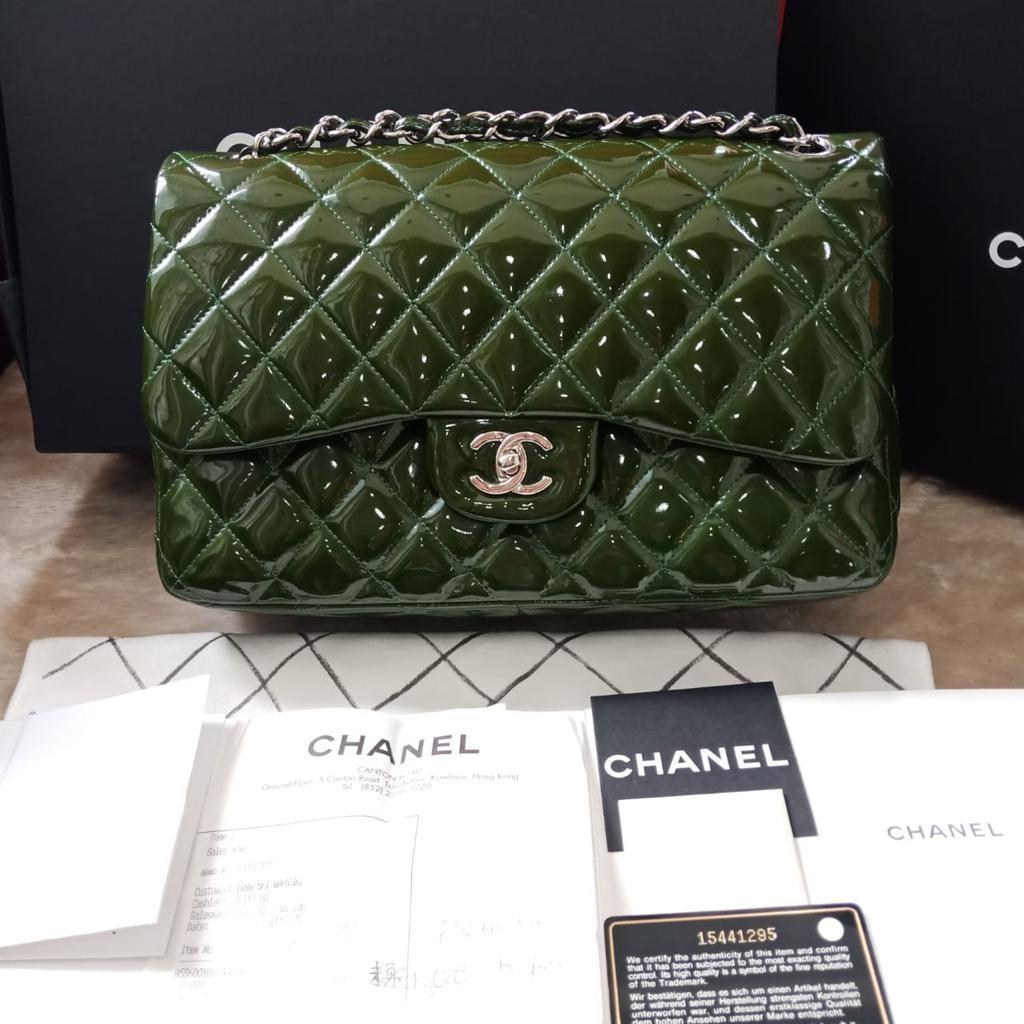 *27.850.000 GOOD DEAL!!!* | #Chanel Jumbo ijo lumut Patent shw #15 Double Flap - Complete Set