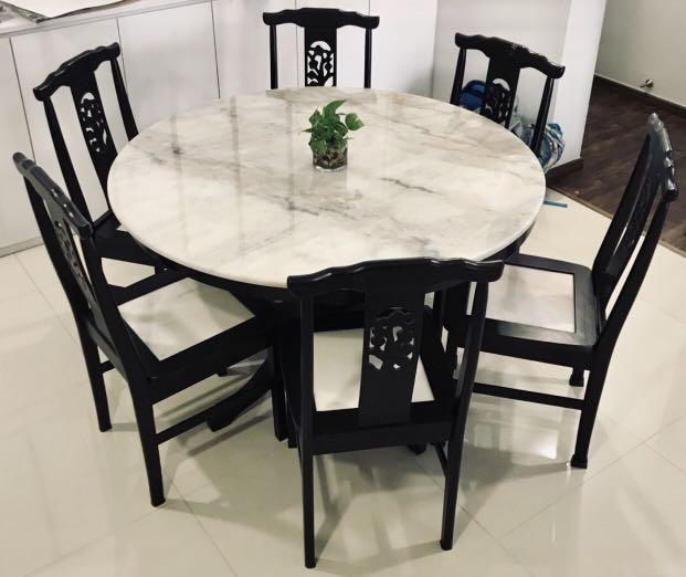 6-seater Marble Top Dining Table Set