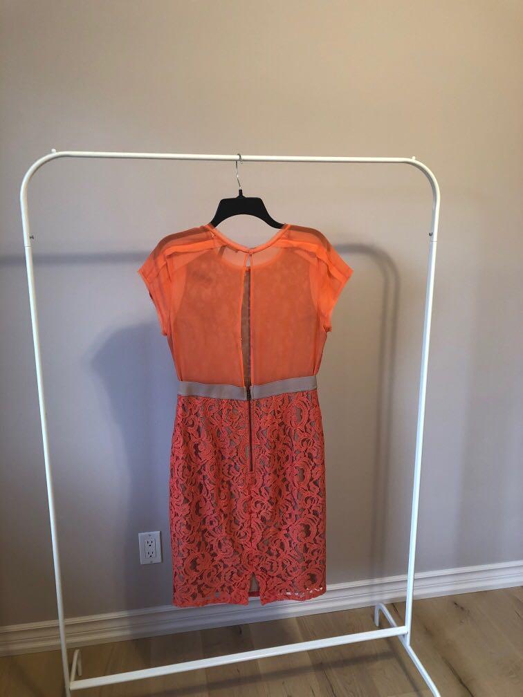 BCBGMAXAZRIA coral lace dress. Size 8. Excellent condition.
