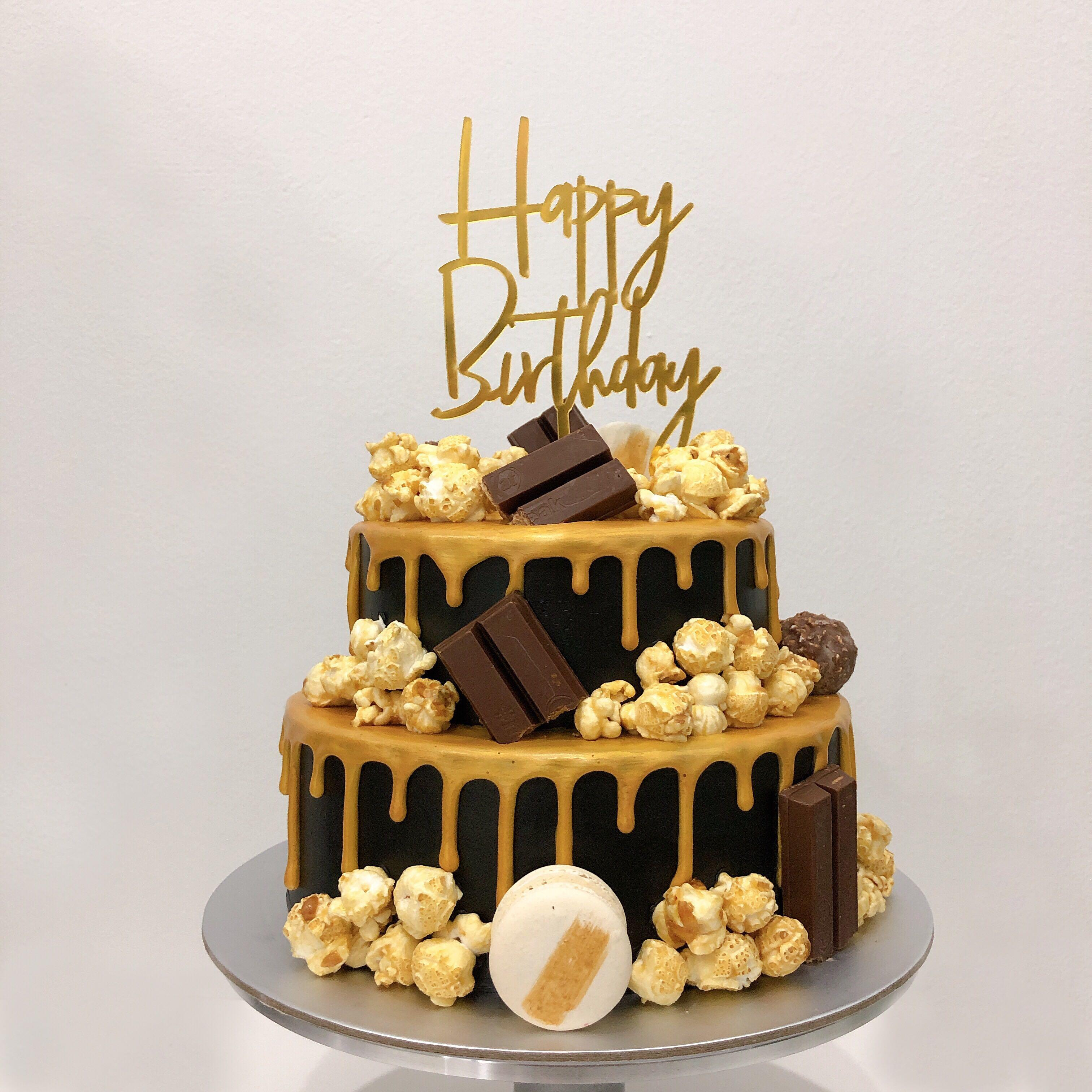 Outstanding Black Gold Birthday Cake Food Drinks Baked Goods On Carousell Funny Birthday Cards Online Alyptdamsfinfo