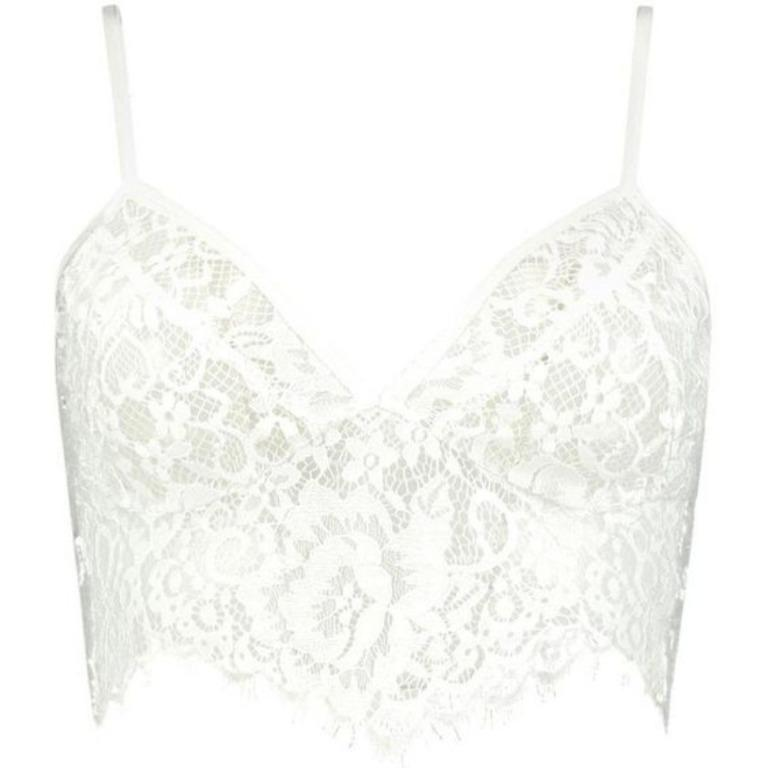 BOOHOO White Lace Scalloped Bralette Sheer Lacey Bra Bralet Crop Top Missguided Meshki Runaway House of CB