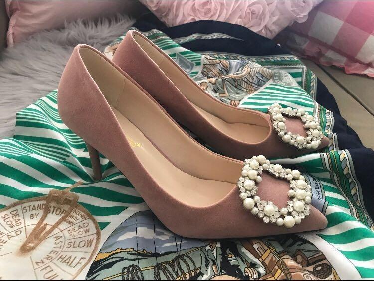 😆FREE SHIPPING* under 500g😆Pink diamond high heels