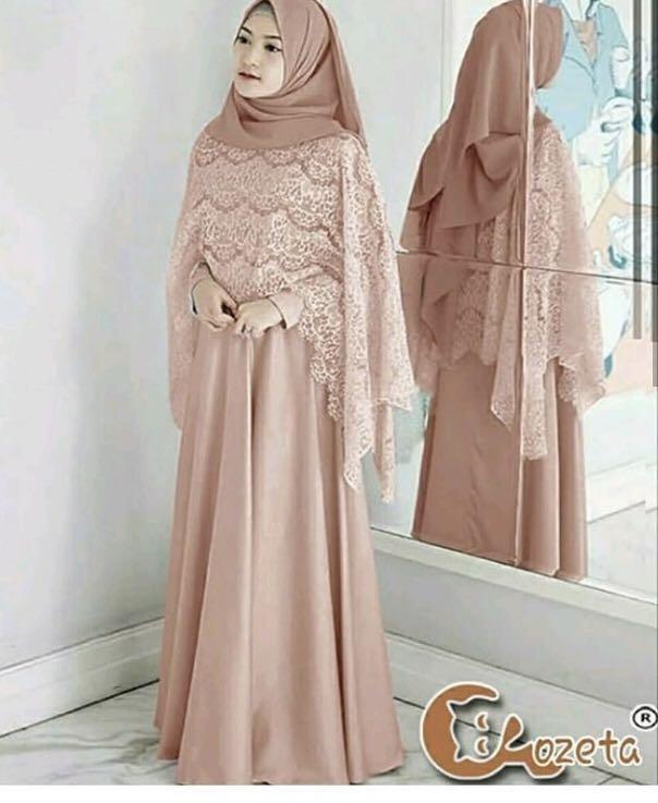 Gamis Brukat Warna Coklat Susu Women S Fashion Muslim Fashion