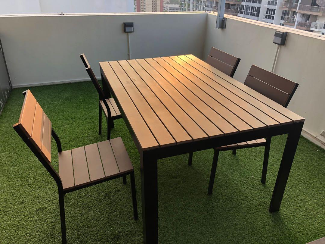 Ikea Falster Outdoor Dining Table Set Furniture Tables Chairs On Carousell