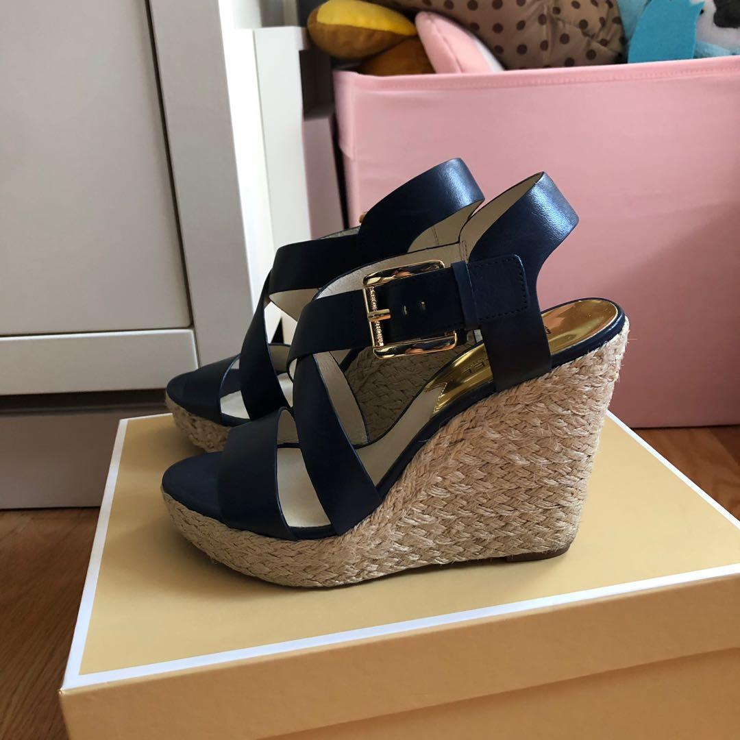 LIGHTLY WORN Michael Kors navy blue wedges (size 7.5)