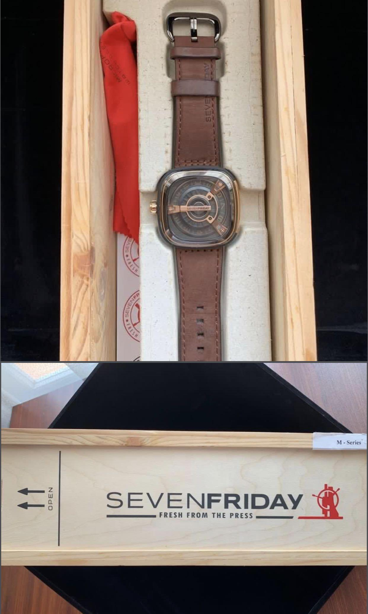 NEW PRICE!!! ORI SEVENFRIDAY M2/02 M-series (Rose Gold & Black Brown Leather Strap)