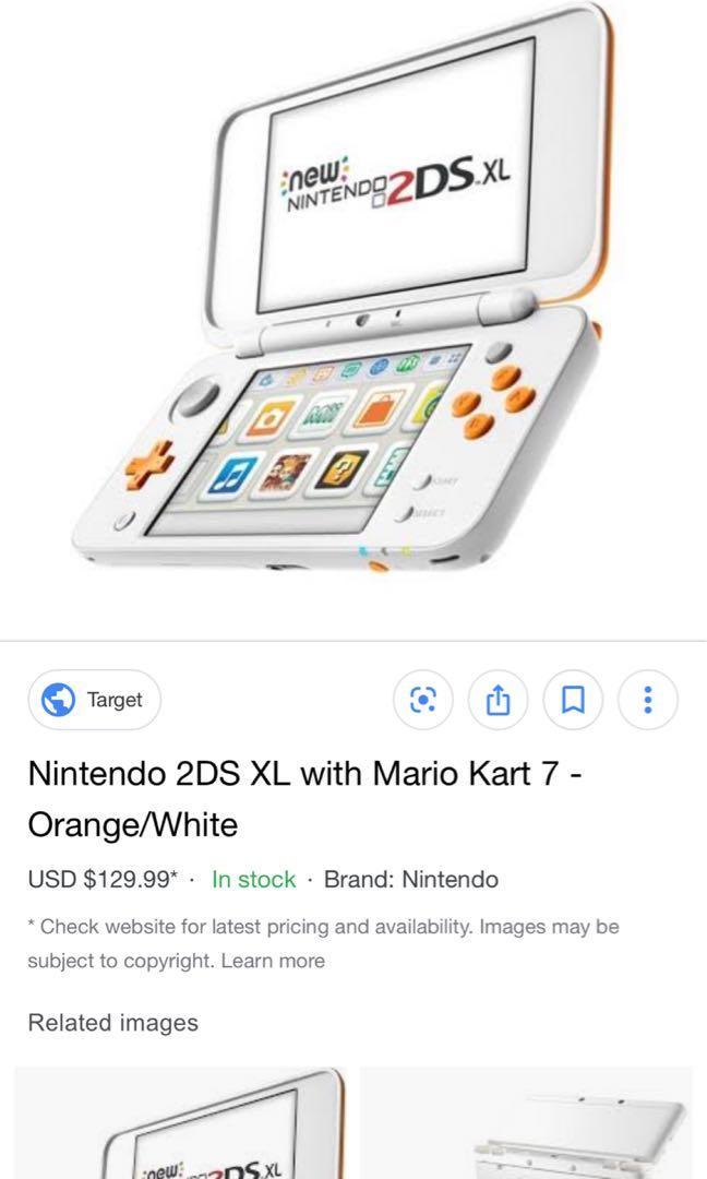 Nintendo 2DS XL orange and white