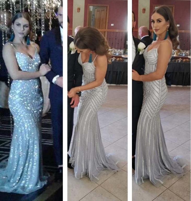 PORTIA AND SCARLETT Lourdes Gown RRP $990 Silver Crystals Mermaid Style Dress Spaghetti Straps Low Back Plunge V Neck The Dollhouse Ball Gown Dress Thedollhousexoxo Bridesmaid Rat And Boa Natalie Rolt HIRE OR PURCHASE
