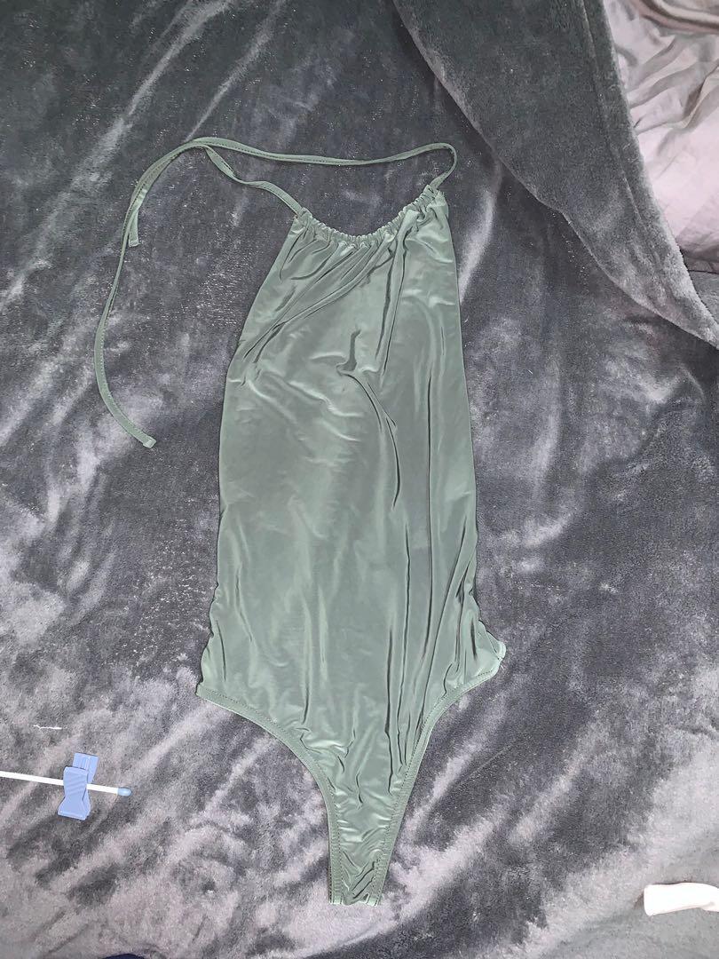 Pretty Little Thing Khaki Backless Halter Bodysuit