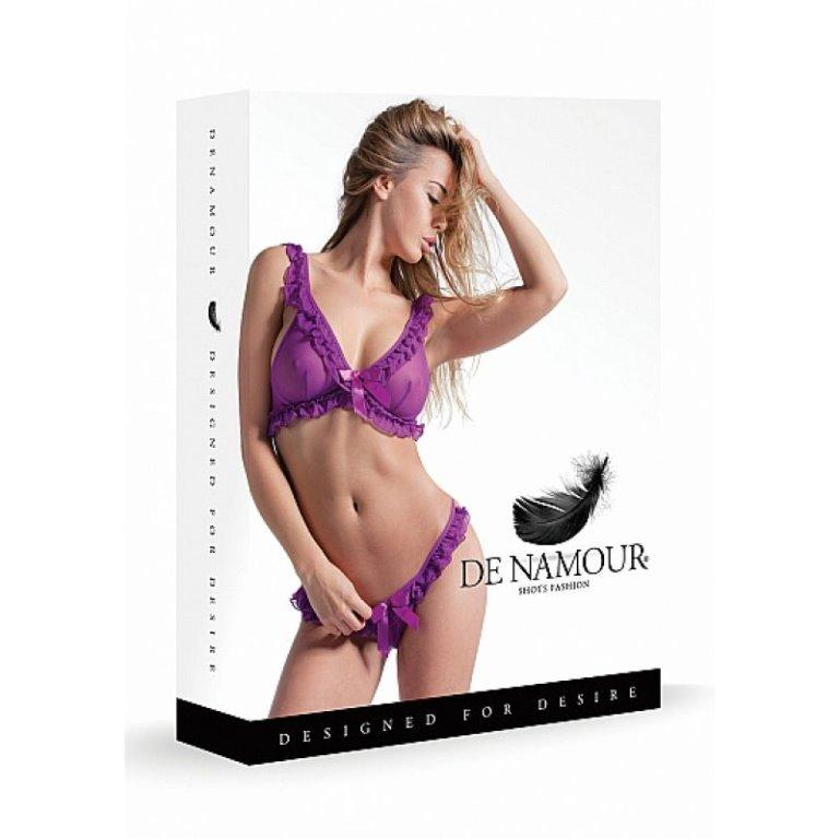 Purple Mesh 2 piece Frilly Set Boxed By DE NAMOR S/M