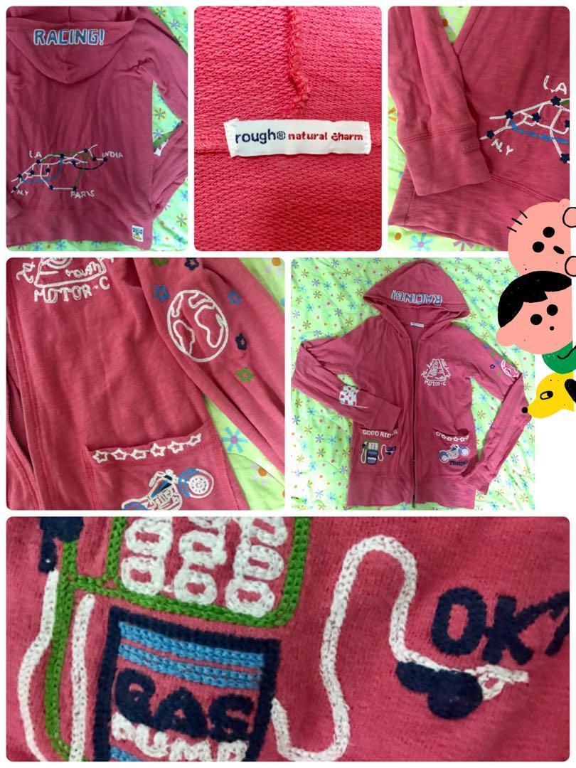 rough 桃粉色童趣刺繡薄外套