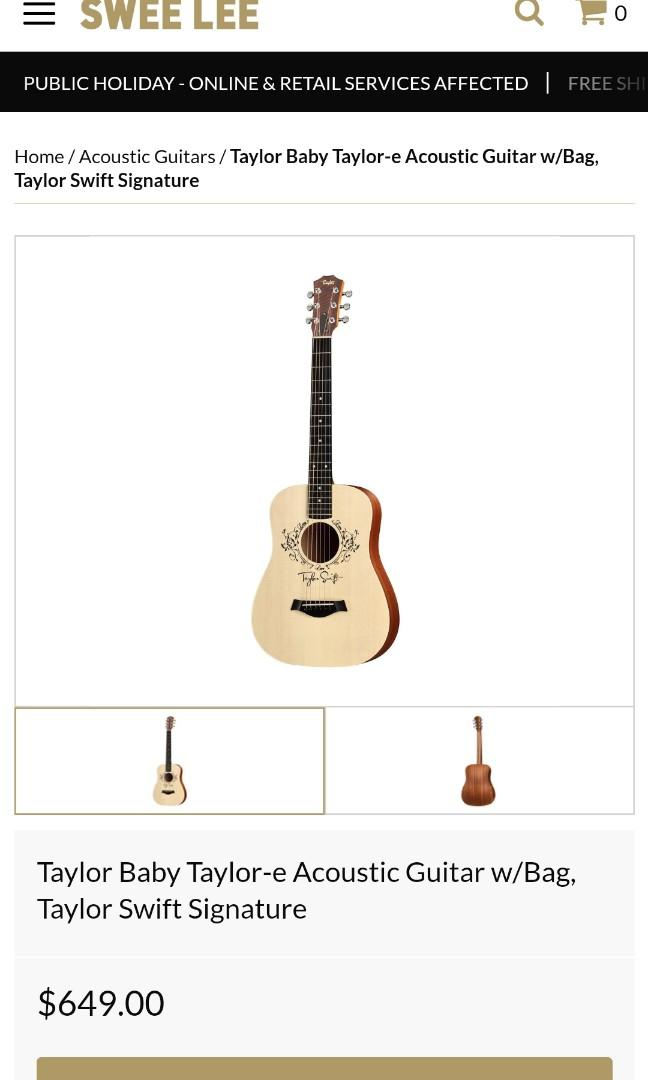 Taylor Baby Taylor E Taylor Swift Guitar Music Media Music Instruments On Carousell