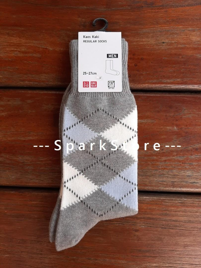 Uniqlo Kaos Kaki Regular Socks Argyle Abu-Abu