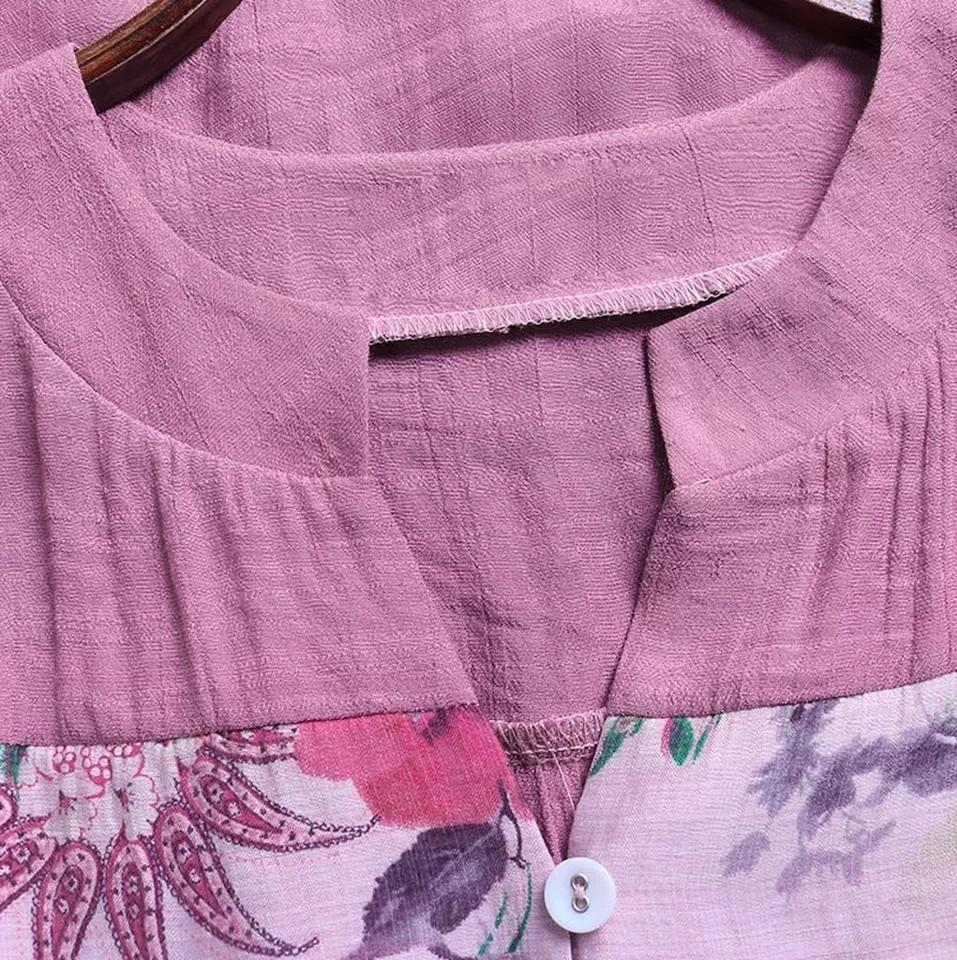 Women Vintage V-Neck Floral Printing Patch Long Sleeves Top Shirt