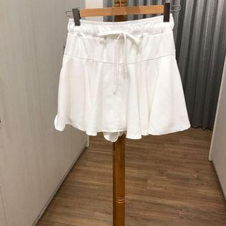 正韓白色綁帶短裙 腰圍鬆緊帶