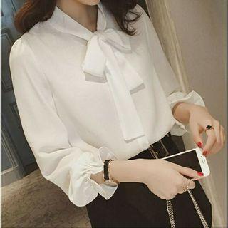 📣韓版蝴蝶結雪紡襯衫   260元