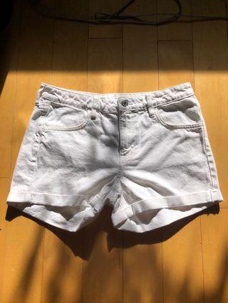 brand new white denim shorts
