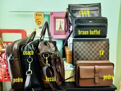 Pre-Loved Branded Bags & Clutch. Coach, Braun Buffel, Fossil, Pedro, LV