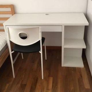 IKEA Desk Table with drawer and shelf unit (White)